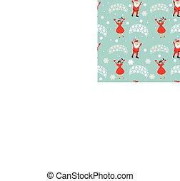 seamless pattern. EPS 10 vector illustration. used for printing, websites, design, ukrasheniayya, interior, fabrics, etc. Christmas theme. Santa Claus on a parachute flying across the sky with Mrs.   hands up
