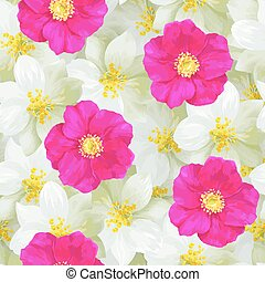 Seamless pattern of jasmine flowers and bright pink wild...