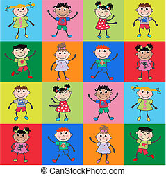 seamless pattern ethnic children