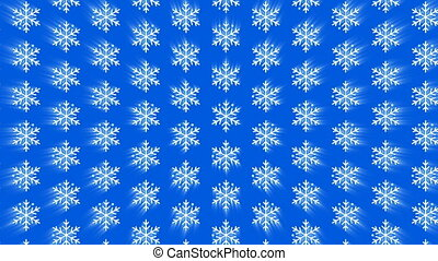 Seamless pattern falling glowing geometric snowflakes on blue background