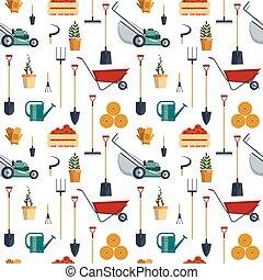 Seamless pattern farm tools flat-vector illustration. Garden instruments icon collection. Farming equipment