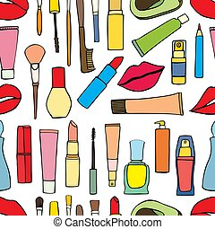 makeup items patch badges - Seamless pattern fashion makeup...