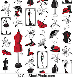 seamless pattern fashion - seamless pattern with a?mannequin...