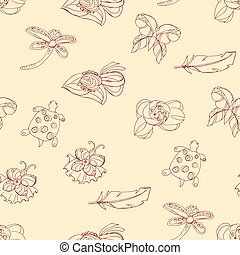 Seamless pattern. Fashion set. illustration in hand drawing style.