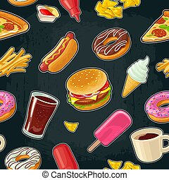 Seamless pattern fast food. Cup cola, coffee, donut, ice cream