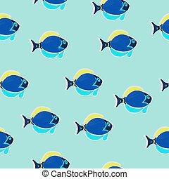 Seamless pattern fish in oil blue