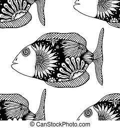 seamless pattern fish - Vector seamless pattern with Hand...