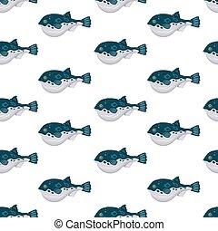 Seamless pattern flat fugu pufferfish isolated on white background. Fresh raw fish - vector illustration