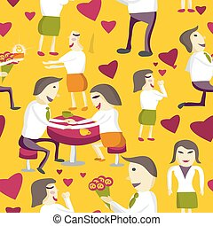Seamless pattern Flat  vector illustration. Lovers man and woman give flowers to the office, holding hands, give gifts