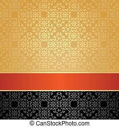 Seamless pattern, floral decorative background, orange...