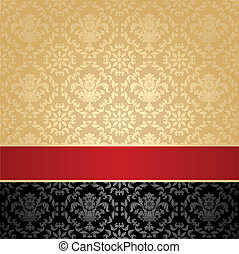 Seamless pattern, floral decorative background, red ribbon