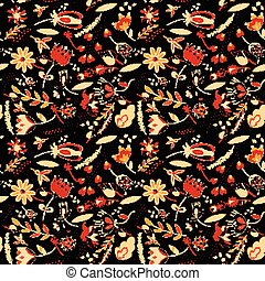 Seamless pattern, flowers, floral on black background with stripes. Vector
