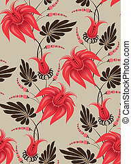 seamless pattern - Flowers on a beige background. Floral ...