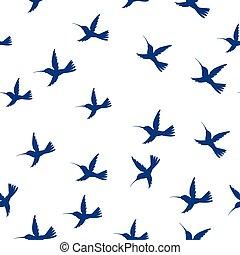 Seamless pattern flying little birds of paradise