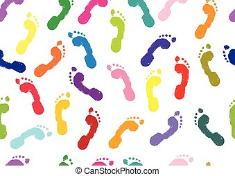 Seamless pattern. Footprints of human's bare feet. Vector illustration