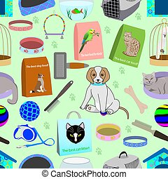 Seamless pattern for a pet shop, consisting of 22 different elements