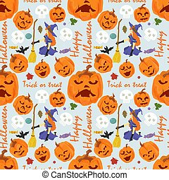 seamless pattern for decoration design, for all saints eve Halloween, Witch on her knees holding a broom, large pumpkins, flat vector illustration