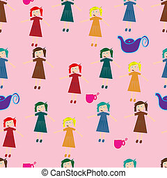 Seamless pattern for children with cute girls and teacups