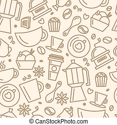 Seamless pattern for coffee theme. Line art draw icons. Vector illustration