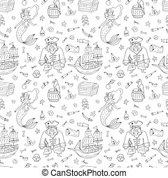 Seamless pattern for coloring book with pirate with white background