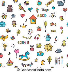Seamless pattern for cute little girls and boys. Sketch set of drawings in child style. Doodle children background