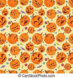 seamless pattern, for decoration design for all saints eve Halloween, Different pumpkin emotions, flat vector illustration
