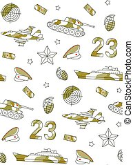 Seamless pattern for Defender of Fatherland Day card with army, military objects.