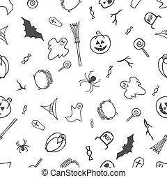 Seamless pattern for Halloween on white background