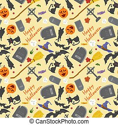 seamless pattern, for decoration design, for all saints eve Halloween, Bats tombstones and inscriptions, flat vector illustration