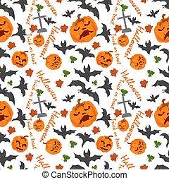 seamless pattern, for decoration design, for all saints eve Halloween, Pumpkins bats and lettering, flat vector illustration