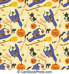 seamless pattern, for decoration design, for all saints eve Halloween, Pumpkins, Black cat, witch hat and lettering, flat vector illustration
