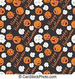 seamless pattern, for decoration design, for all saints eve Halloween, Pumpkins, skulls and lettering, flat vector illustration