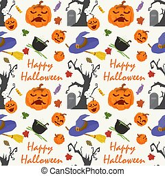 seamless pattern, for decoration design, for all saints eve Halloween, Scary tree, pumpkins, tombstones and inscriptions, flat vector illustration