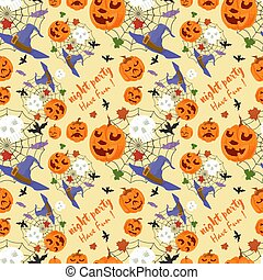 seamless pattern, for decoration design, for all saints eve Halloween, pumpkin skull Web and lettering, flat vector illustration