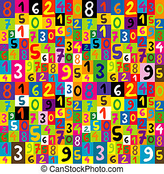 Seamless pattern for kids with numbers