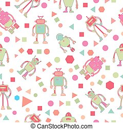 Seamless pattern for kids with robots