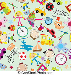 Seamless pattern for kids with toys