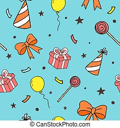 Seamless pattern for party. Birthday background. Vector illustration