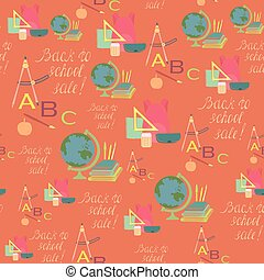 Seamless Pattern for School Sale Wrappings