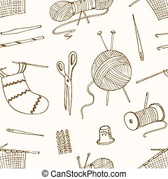 seamless pattern for sewing, knitting, crafts, hobbies.