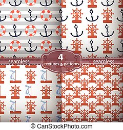 seamless pattern four pieces. anchors and wheel.