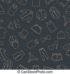 Seamless pattern from a set of clothes icons, vector illustration.