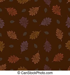 Seamless pattern from autumn vintage leaves of northern red...