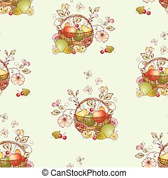 Seamless pattern from basket with ripe fruits, flowers and butterflies
