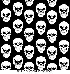 Seamless pattern from black grinning skulls on black background