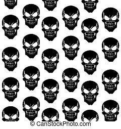 Seamless pattern from black grinning skulls on white...