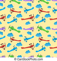 Seamless pattern from children colored retro planes