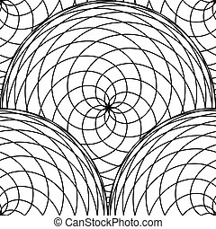 Seamless pattern from circles of intertwined fine lines....