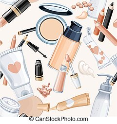 Seamless pattern from cosmetic objects cream, face powder,  ...