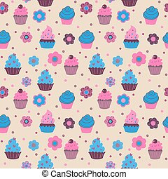 Seamless pattern from cute decorative cupcakes with flowers